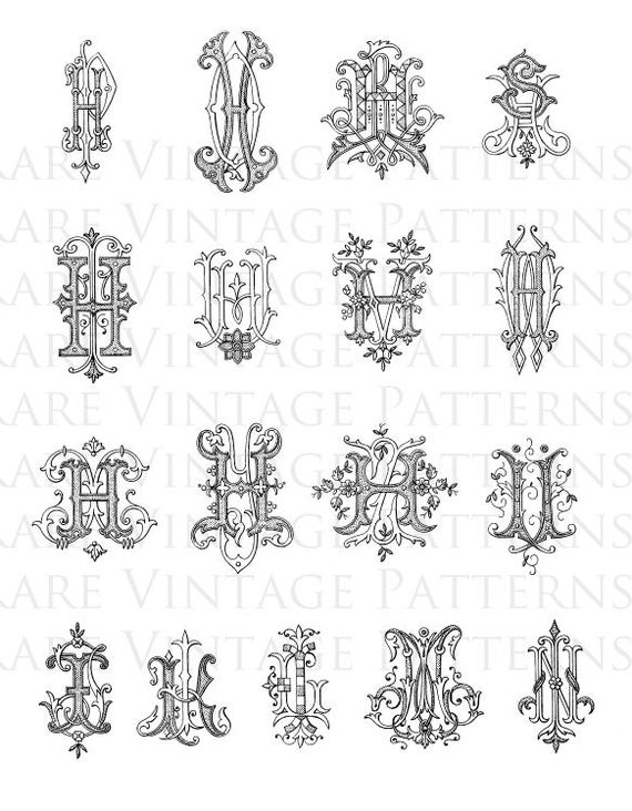 17 FANCY ALPHABET MONOGRAMS On One A4 Page 2xFiles A 300 Dpi Jpg White Background And Png Transparent Instant Download From