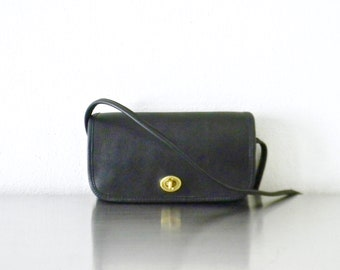 Vintage Black Leather Coach NYC Dinky Bag, Refurbished Black Small Crossbody Dinky Bag, Original NYC Factory Made Iconic Coach Purse