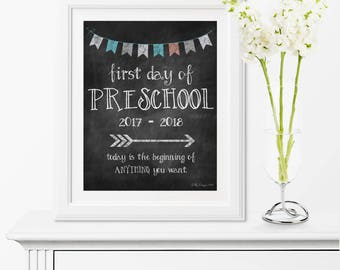 Printable, First Day Of School, First Day Of School Sign, Preschool, Chalkboard, Art, Back To School, Banner, 1st Day Of School Chalkboard