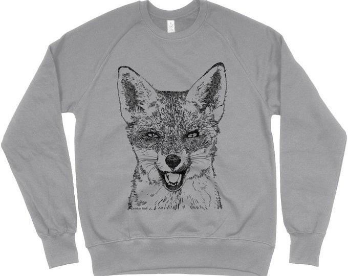 Red Fox Original Art Wildlife Print Organic Cottin Unisex Raglan Sweatshirt. Heather Grey.