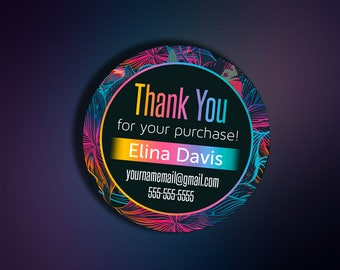 Thank You Stickers - Personalized Label - Chalkboard Stickers - Thank You Cards