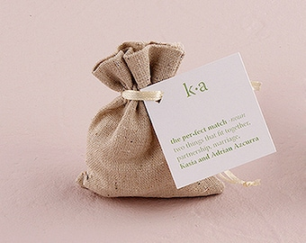 Linen Drawstring Pouch Wedding Favour Bag – Pack of 12-suitable for rubber stamp printing