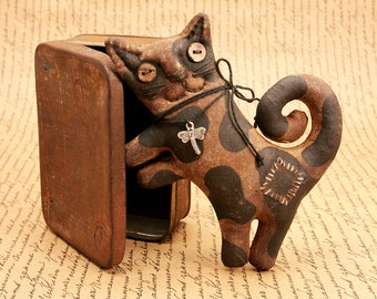 Cat Primitive Gift Handmade Cat Kitty For Cat Lovers Primitive Halloween.