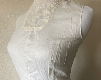 XS Antique Edwardian white cotton lace high neck sleeveless blouse