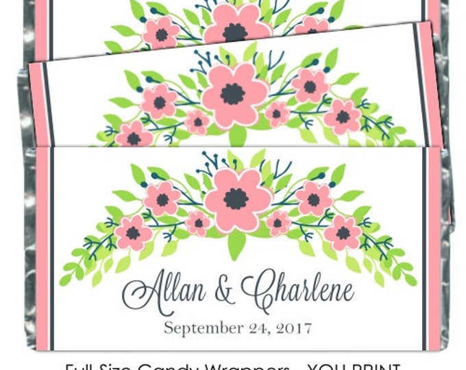 Printable Candy Wrappers, Pink Floral Wedding Candy Wrappers, - fit over chocolate bars - bridal shower, wedding shower