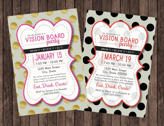 Vision Board Party Polka Dot Invitation