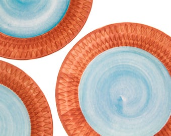 Fioriware Harlequin Embossed Pumpkin & Blue 12 Inch Plate
