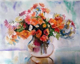 Watercolor flowers, floral still life, Original watercolor painting, artwork, wall decor, wall art nature botanical art Orange chrysanthemum