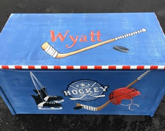 child's toy box, wood toy box, hockey toy box, hand painted toy box, kids toy chests, personalized toy box