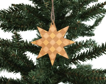 Star Ornament   Wood Ornament   Holiday Decoration   Star   Holiday Ornament   Christmas Ornament   Home Decor   Checkered   Made in Maine