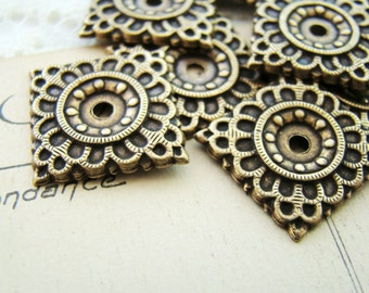 Antiqued Brass Ox Square Stamping Embellishment Petal Embossed 17mm - 4