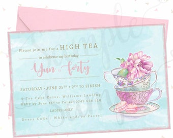 HIGH TEA/Tea Cups Birthday Invitation