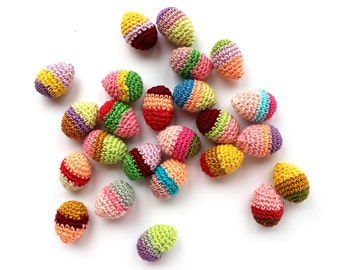 Easter eggs amigurumi - Easter ornaments - colorful eggs decor - spring decorations - kids party decor - Easter party decorations - set of 6