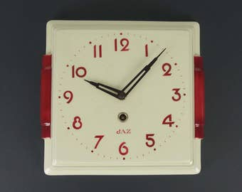 French vintage clock, JAZ, ceramic, 1950