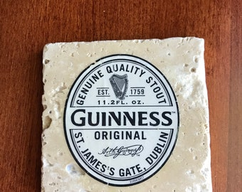 Beer Coaster - Guinness Beer Coaster - Stout Beer Stone Coaster - Guinness Stout Beer Coaster - Irish Beer - Dublin