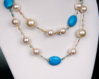 2-way Turquoise necklace with colored stones and faux pearls, Statement Necklace, December Birthstone