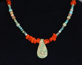 Teardrop Clay Beaded Necklace