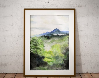 Smoky Mountains watercolor painting print | Mountains print | Mountain art | Smoky Mountain art | Mountains painting | Mountain watercolor