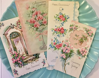 Vintage Anniversary Greeting Cards, Midcentury Anniversary Cards, 1940s-1950s New Cards