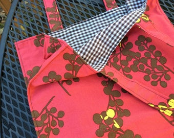 grocery / farmers market tote - pink and brown