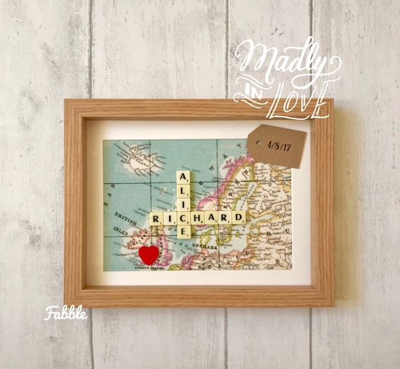 Personalised world map engagement frame vintage map like this item gumiabroncs Choice Image