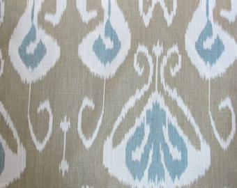 BANSURI bRAMBLE tAN and bLUE Ikat linen BY kRAVET