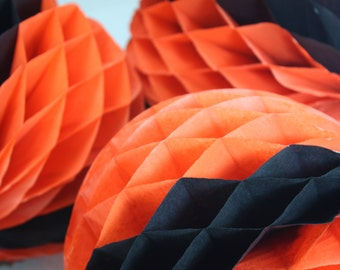 Vintage Halloween Honeycomb Tissue Paper Black And Orange Ball Halloween Party Decor