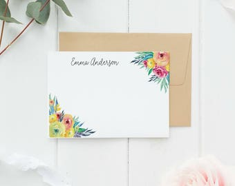 Personalized Stationery Set, Calligraphy, Personalized Note Cards, Personalized Thank You Note Cards, Personalized Stationary Set