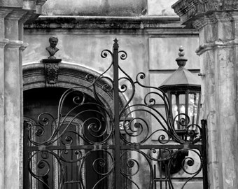 Travel Photography - Charleston Details In Black and White - Southern, Lighting, Ironwork, Architecture, Romantic, Fine Art Photography