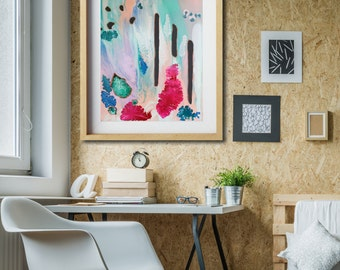 Canvas art print, giclee art print, wall art, modern home decor, contemporary painting print, abstract art print, pastel wall print, magenta