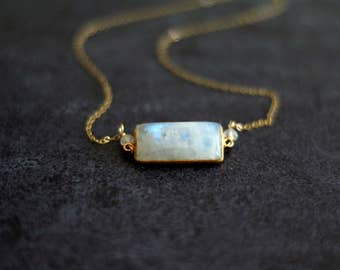 Rainbow Moonstone Bar Necklace Statement necklace White gemstone choker Vitrine Designs Layering Necklace