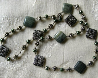 Silver and Sage Necklace