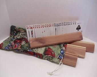 Set Of 4 Cedar Playing Card Holder's With Drawstring Storage Bag