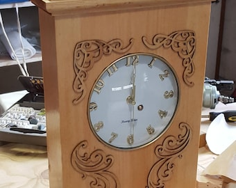 Grandchild Clock: Quartz clock set in hand made pine box with reclaimed pot lid as face glass Stained in pecan and delicately trimmed