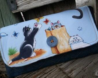 Cat Wallet, Ladies  Billfold, Cat Fabric Wallet, Fabric Wallet, Ladies Wallet, Cat gift, Vet Tech Gift
