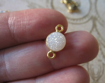 Druzy LINK Connectors, Drusy Bezel Gemstone Charm Pendant, WHITE, 8 mm, 24k Gold or Sterling Silver gcl.d2 ap31.8 ll gc solo