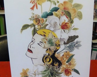 "Art collage print, mechanical print taken from one of my collage poster, floral portrait, blonde, flowers, ""Expérience 3"""