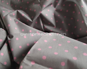 "pink polka dot cotton fabric, quilting fabric, patchwork fabric, half meter by 44"" wide,remnant, last piece"