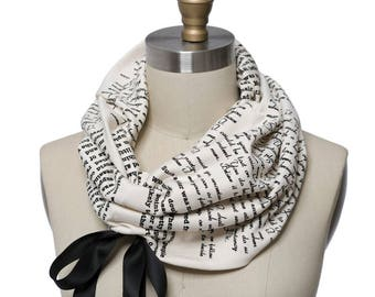 Persuasion Ribbon Book Scarf - Infinity Scarf, Literary Scarf, Jane Austen, Book Lover, Books, Reading, Teacher Gift