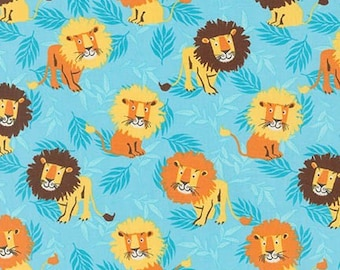 Robert Kaufman, Sea Urchin Studio, Wild Adventure, Lions on Blue - 1 Yard
