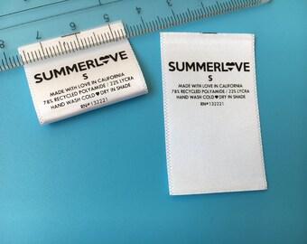 300 Printed Satin Label, Printed Cloth Labels, Screen Printed Labels, Printed Garment Labels, Custom clothing labels, Printed Fabric Labels