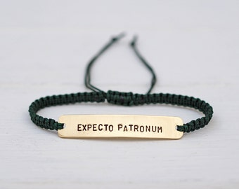 Expecto Patronum Sterling Silver or Brass and Macramé Bracelet, Choice Of Colours Available. Friendship Bracelet