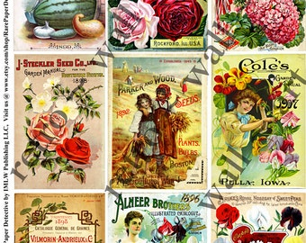 Vintage seed packs 5 digital seed catalog cover sheets vegetable print country farm collage for Country garden 6 pack