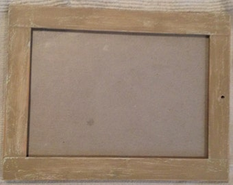 Distressed frame- taupe/cream and wood 21cm x 16cm