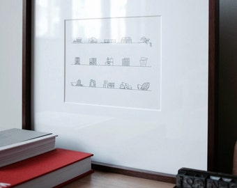 Iconic Architecture - Letter press prints/limited edition