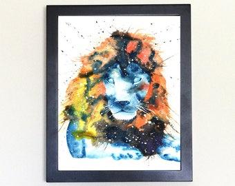 Lion Spirit Totem Animal Art Print Watercolor 8x10