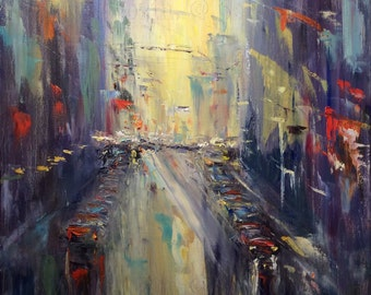 City Lights Abstract City Painting Original Oil Painting 30 x 24""