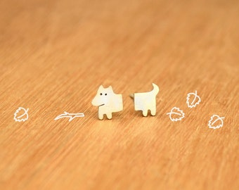 Tiny Half Dog- Stud Puppy Earrings- Sterling Silver - Dog lover gift