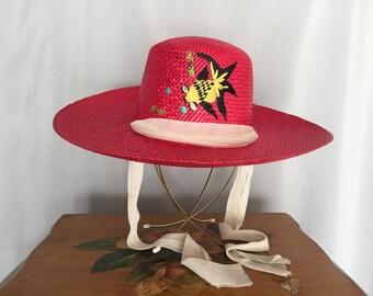 Red Hat Sun Bonnet White Tie Bow Tropical Fish Vintage Beach Summer Straw Woven Wide Brim