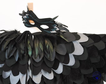 Kids Mockingjay Raven Costume   Halloween Maleficent Costume   Childrens Raven Cape   Crow Wings   Harry Potter Bird Cape - made to order